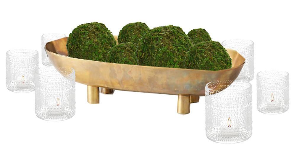 gold bowl moss balls votive candles