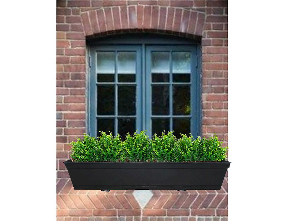 faux greenery window box
