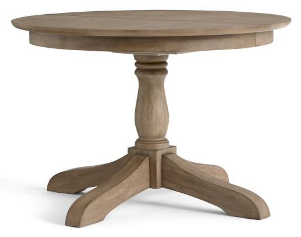 wooden pedestal table Pottery Barn