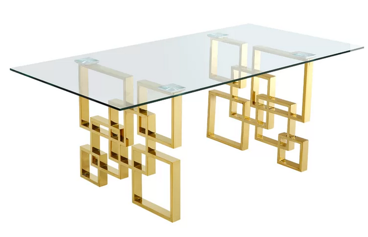 glass top brass geometric dining table