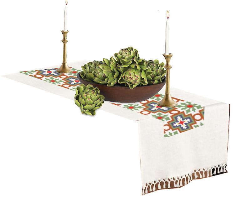 faux artichokes geometric runner linen brass candlesticks