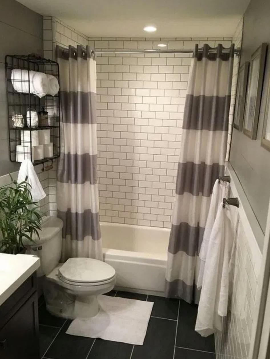 guest bathroom grey shower curtain