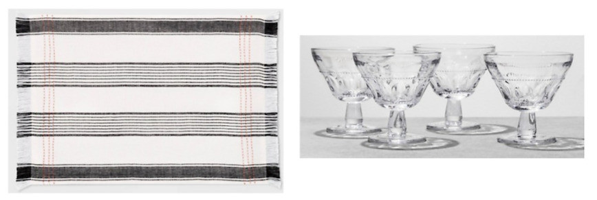 striped placemat and glass dessert bowls Hearth & Hand