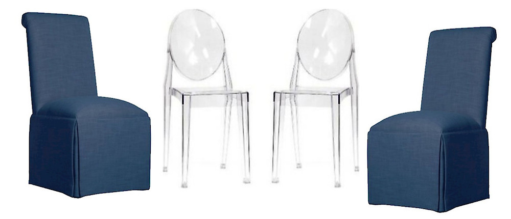 acrylic chairs and blue slip covered chairs