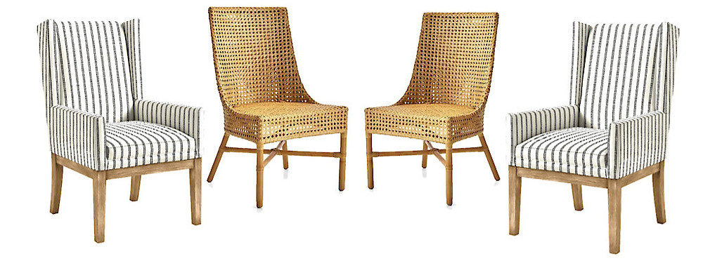 rattan chairs and striped upholstered chairs