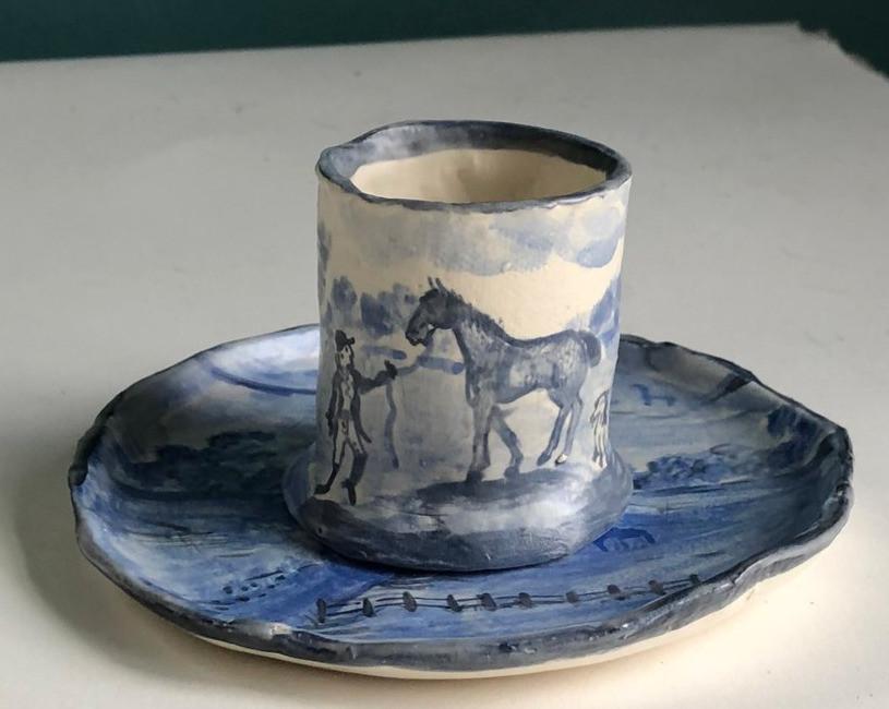 Proud Flesh demitasse cup with saucer ceramics Maggie Robertoson