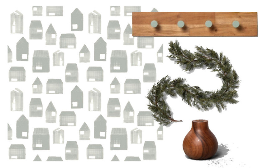 wall paper, hooks, cypress garland, wood bud vase Hearth & Hand