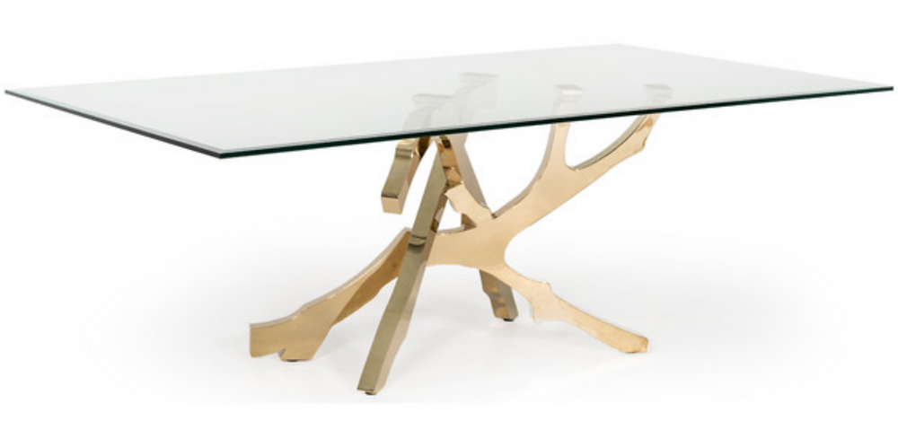 glass gold modern dining table