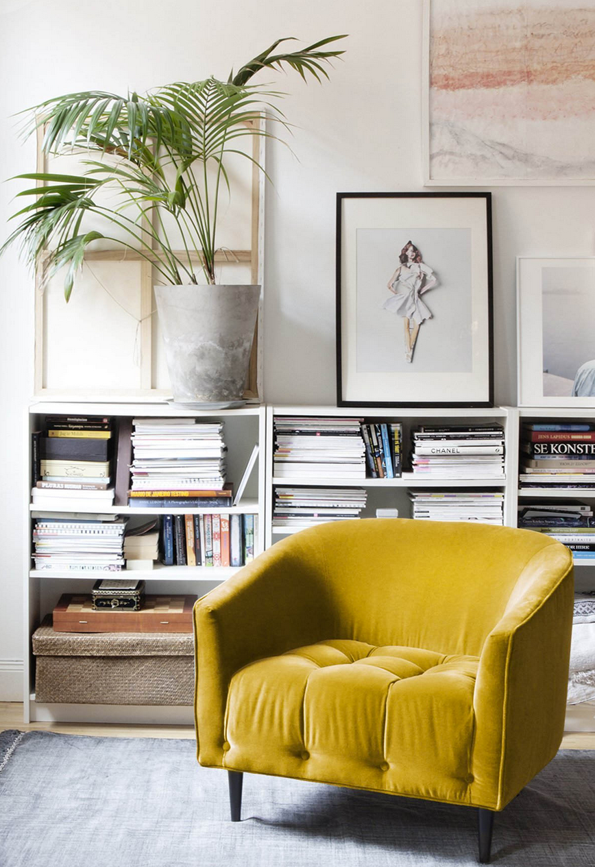 mustard yellow velvet chair