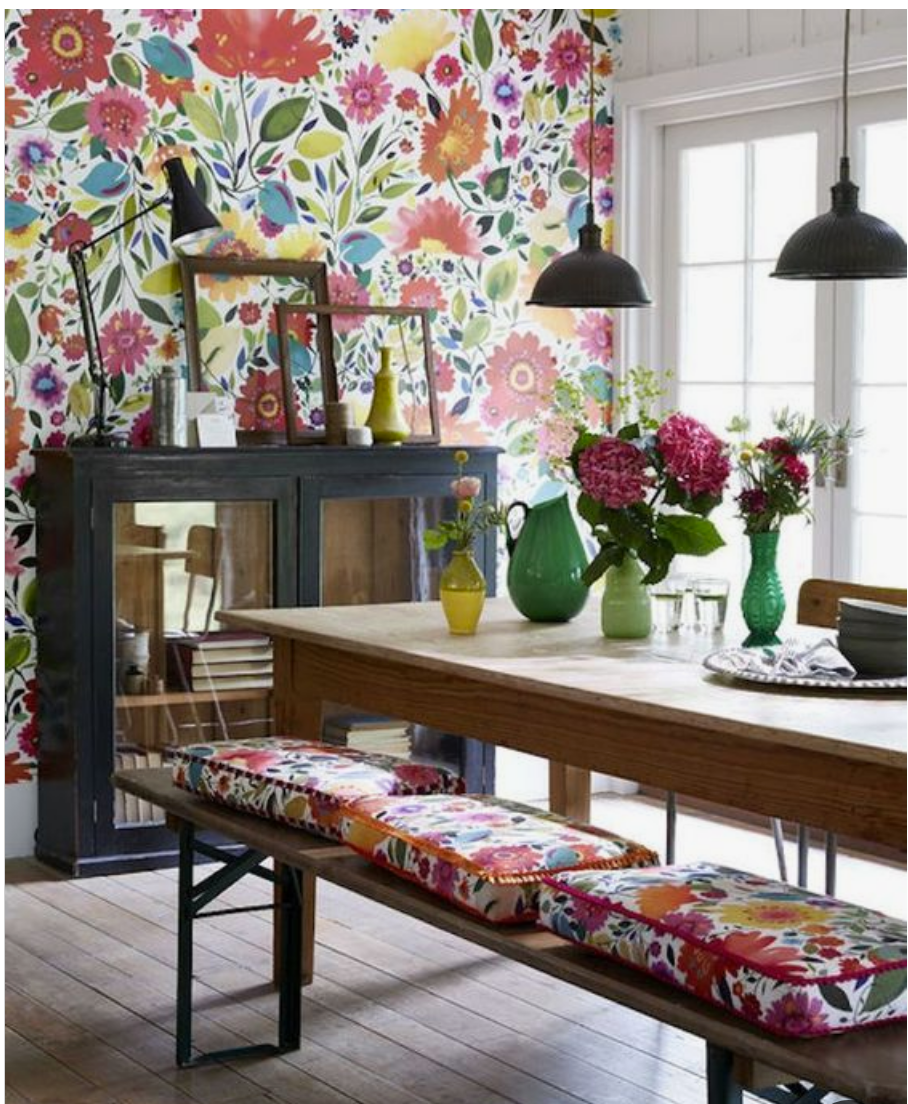 floral wallpaper dining room