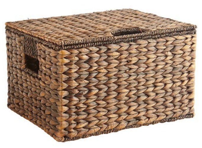 lidded wicker storage basket Pier 1