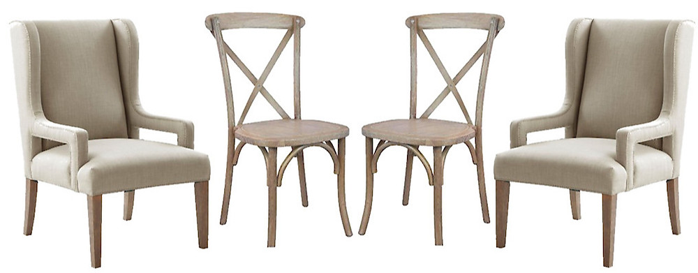 whitewashed x back dining chairs and beige upholstered chairs