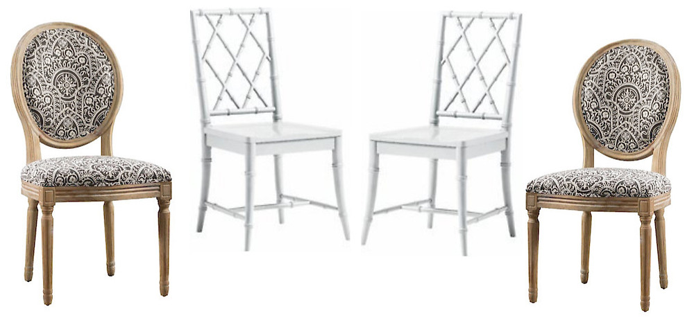 white bamboo look chairs and patterned upholstered chairs
