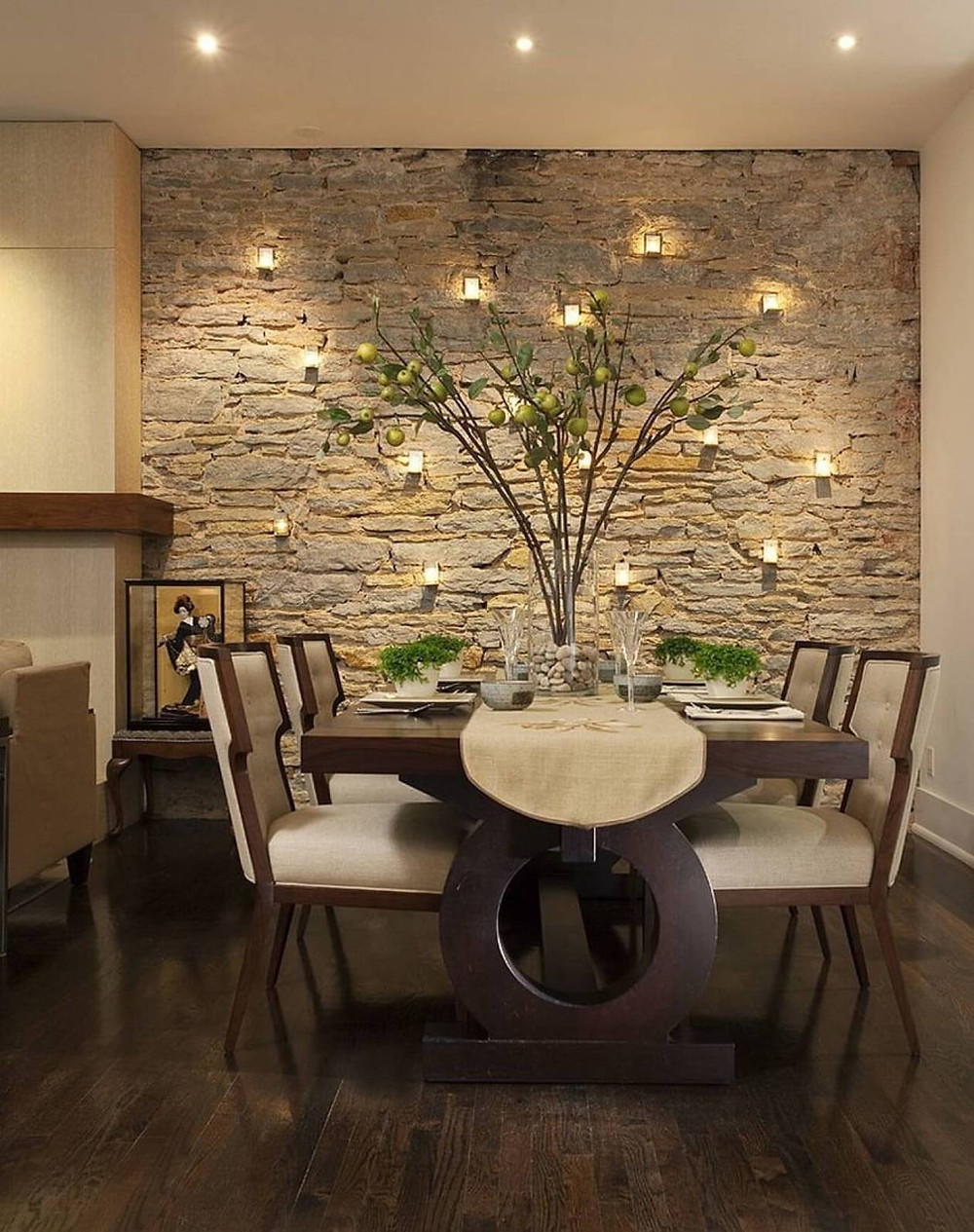 stone feature wall dining room