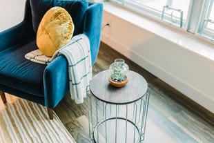 Modern velvet chair and industrial side table