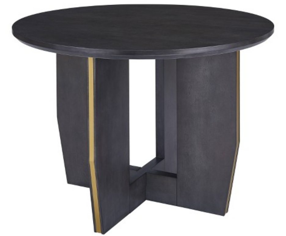 black round metallic pedestal dining table