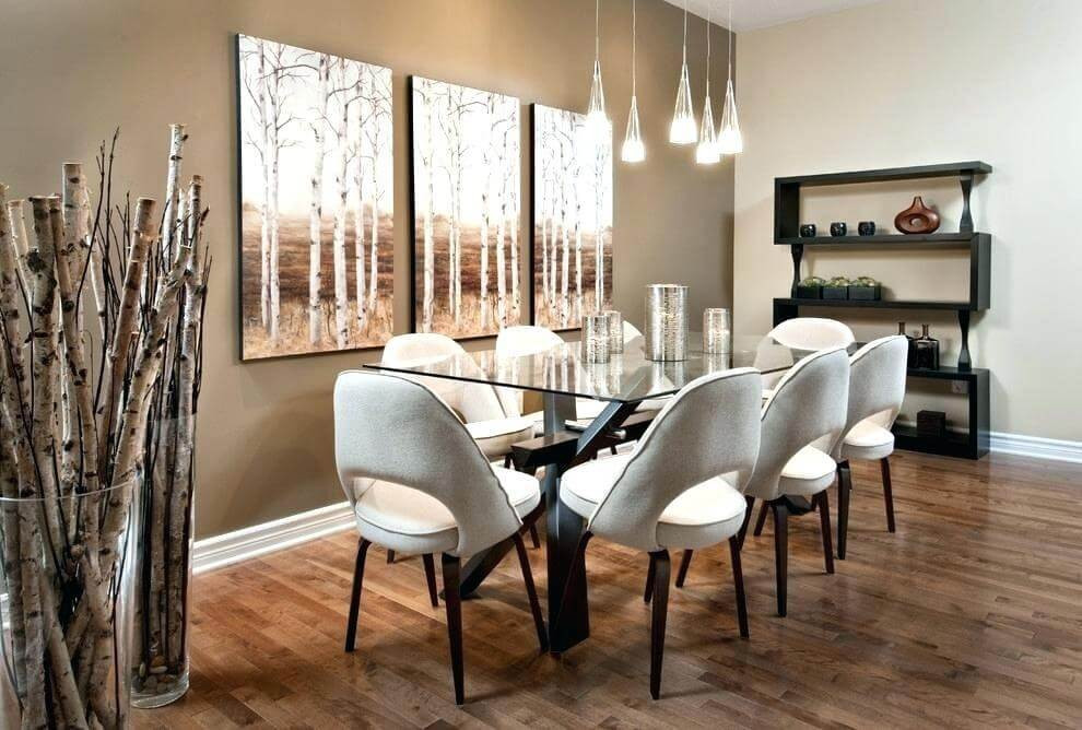 tan accent wall dining room