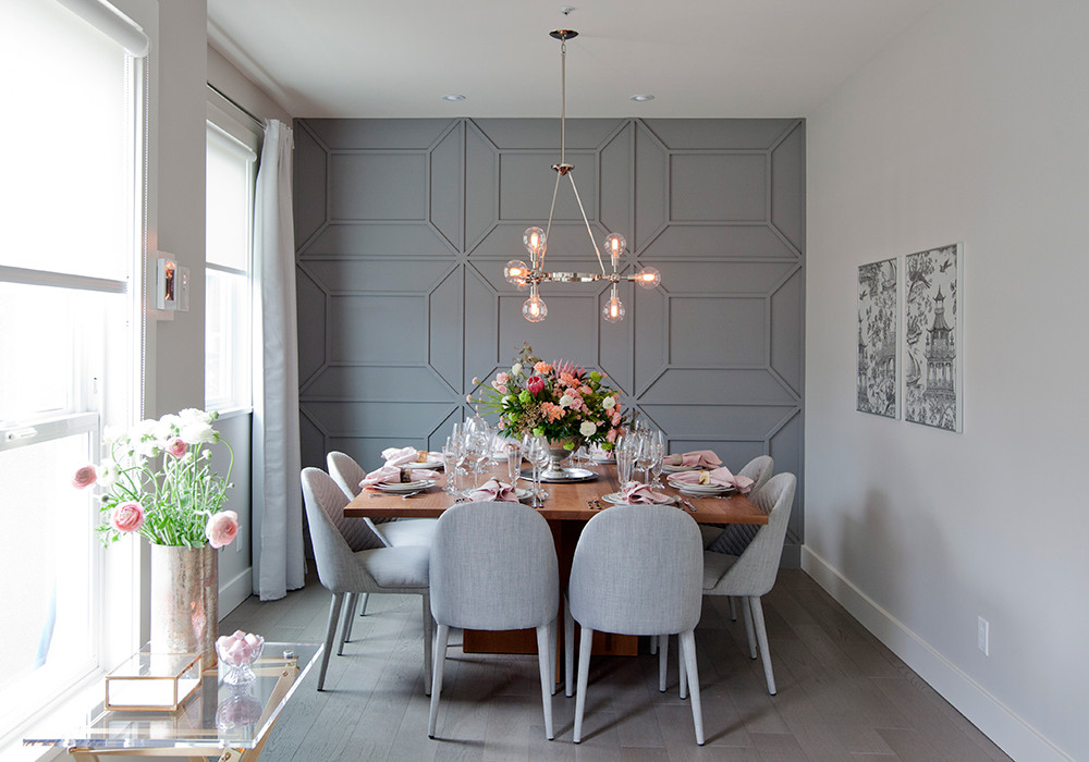 grey textured pattern accent wall dining room