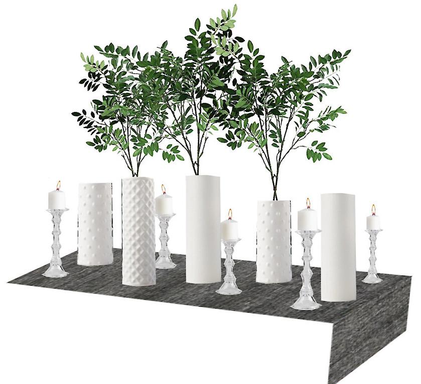grey table runner white vases tall faux stems