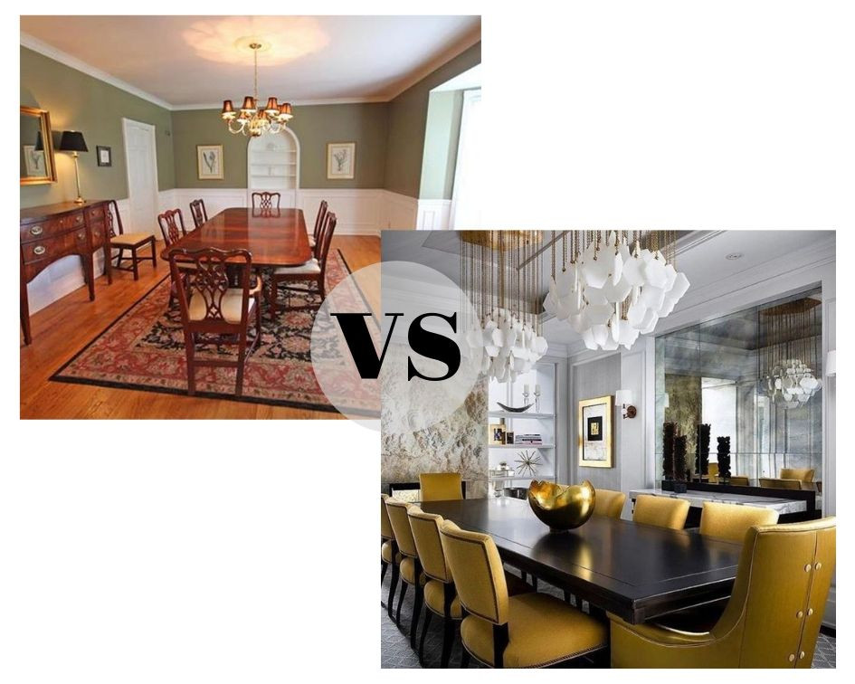 dated dining room versus contemporary dining room