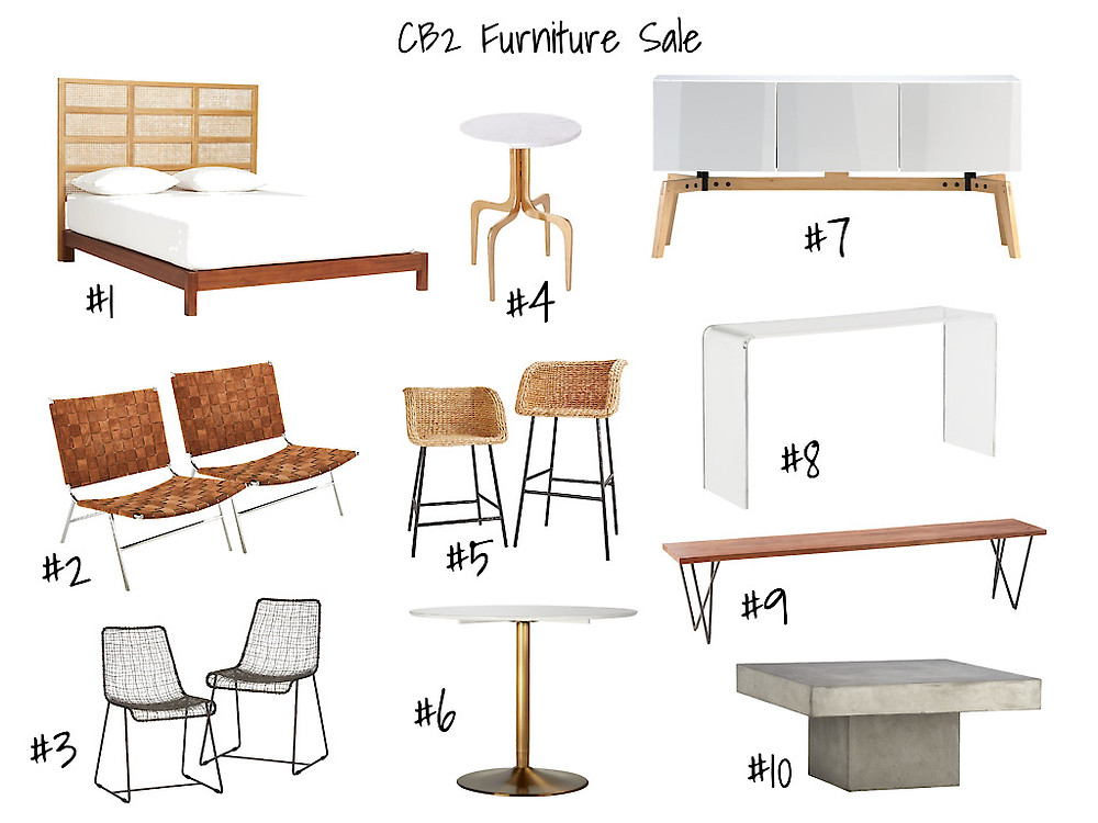 CB2 Furniture Sale - Bed, Sideboard, Lounge Chair, Barstool, Coffee Table, Bench