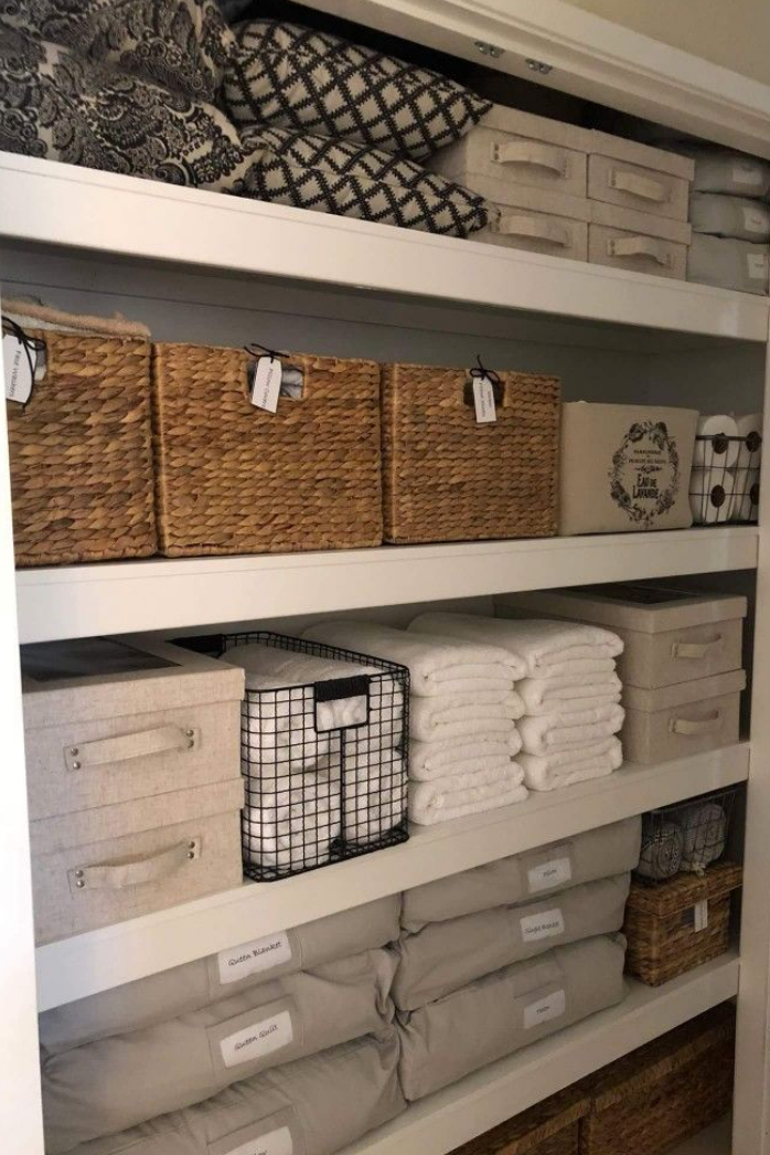 storage bins in closet