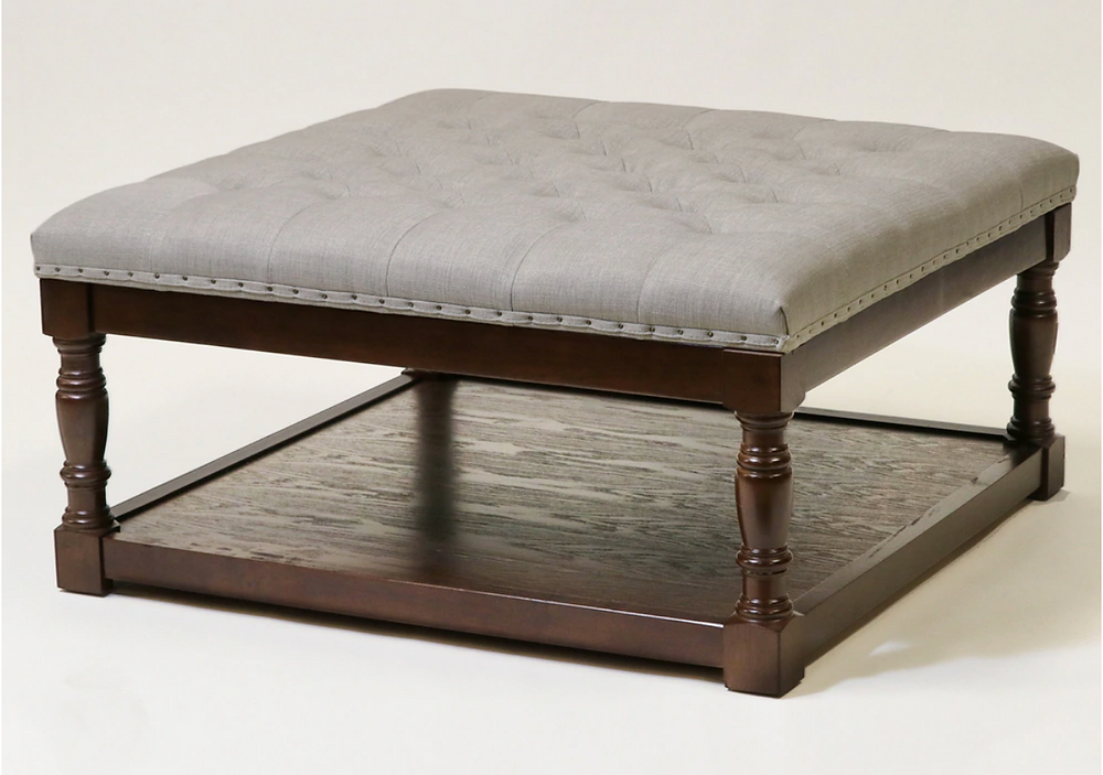 light grey tufted ottoman