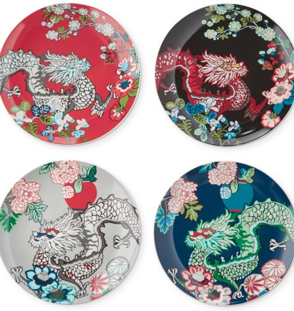 Schumacher Chaing Mai dragon salad plates
