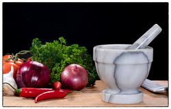 Pestle and veggies