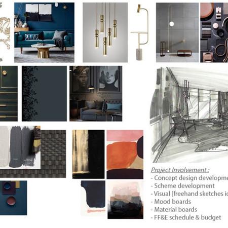 : Modern Living Room - FF&E Mood Board