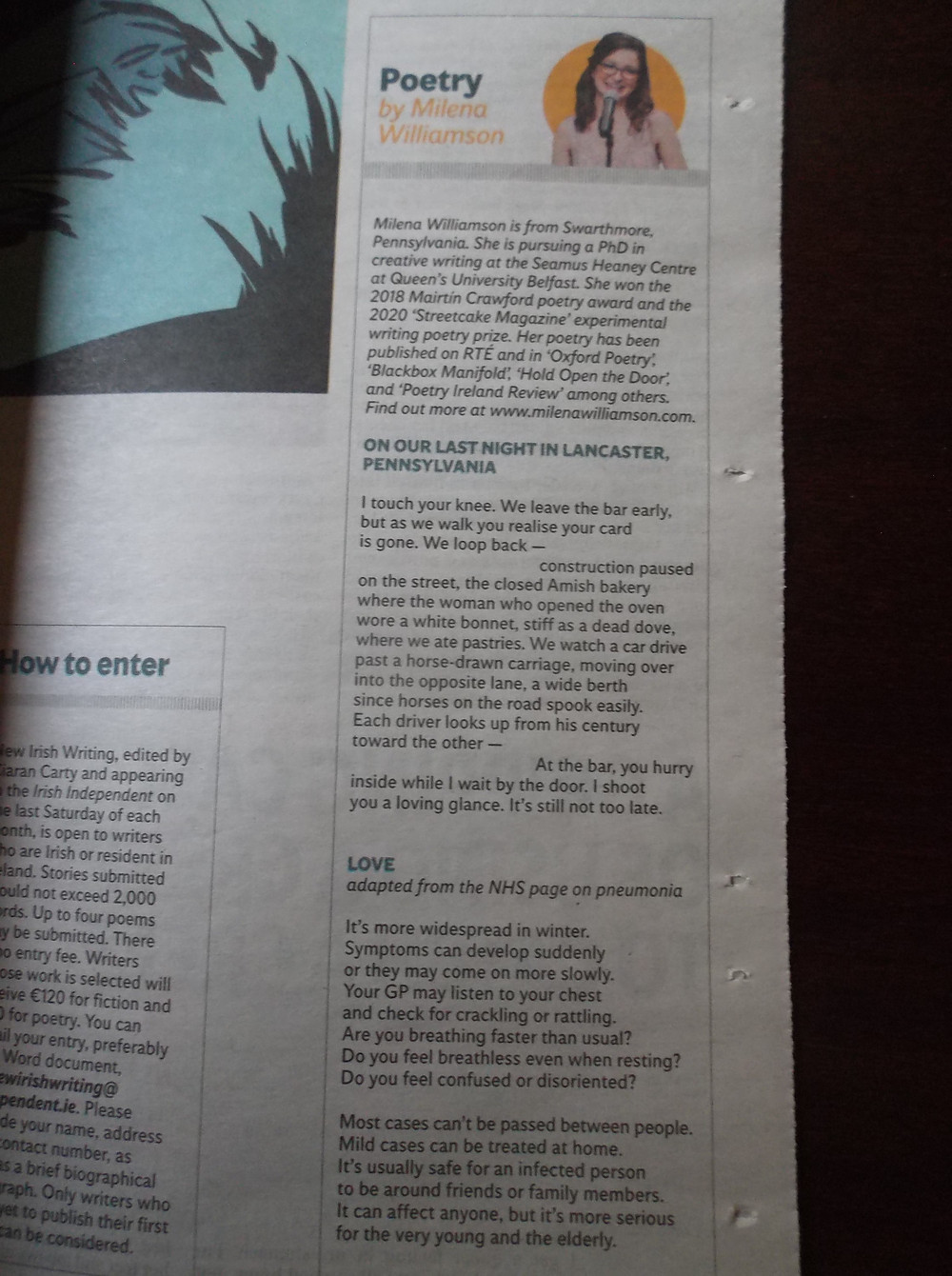 The inside of a newspaper with the words 'Poetry by Milena Williamson' followed by two poems.
