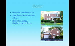 A screenshot of a powerpoint showing a house on the market in Swarthmore, PA