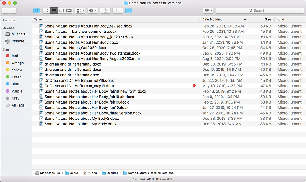 A screenshot of a folder with many poem drafts