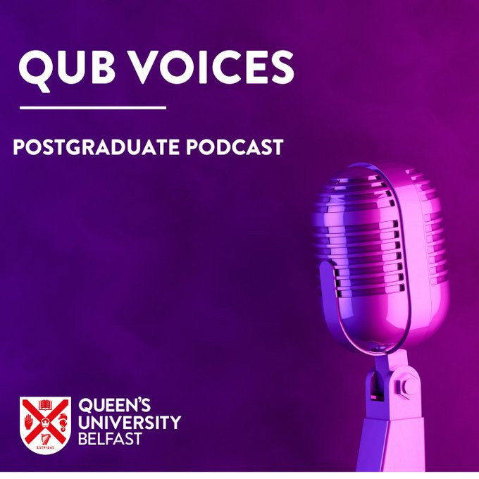 QUB Voices postgraduate podcast logo