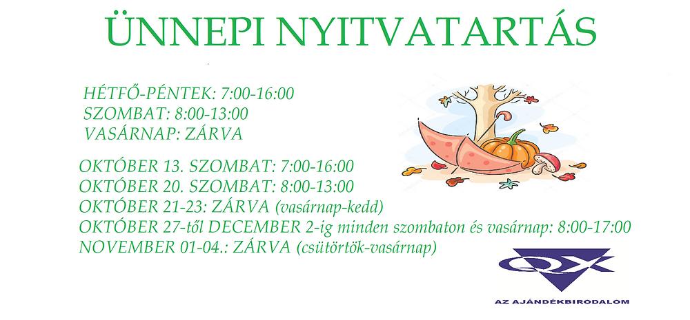 Budapesti Áruházunk Nyitvatartási Rendje!