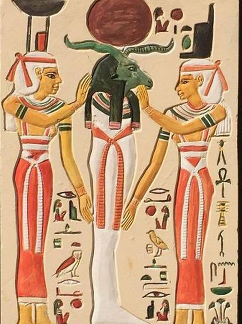 Goddess Isis and Hathor  with Kknum