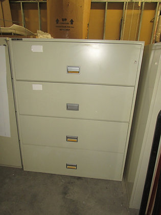 """#528, Pre-Owned Schwab Fireproof 4-Drawer Lateral Filing Cabinet   43""""W"""