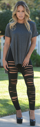 FASHION NOVA Black Ripped Leggings