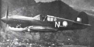 75 Squadron Kittyhawk overhead Port Moresby [Image credit: Defence]