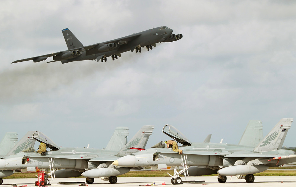 Bombers such as the B-52 offer distinct advantages over traditional Fighter Ground Attack aircraft in the CAS role. [Image Credit: Commonwealth of Australia]