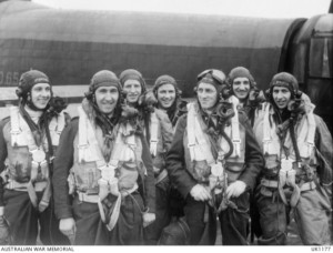 Members of the crew of a Lancaster of No 460 Squadron RAAF on their second tour of operations. [Image credit: Australian War Memorial]