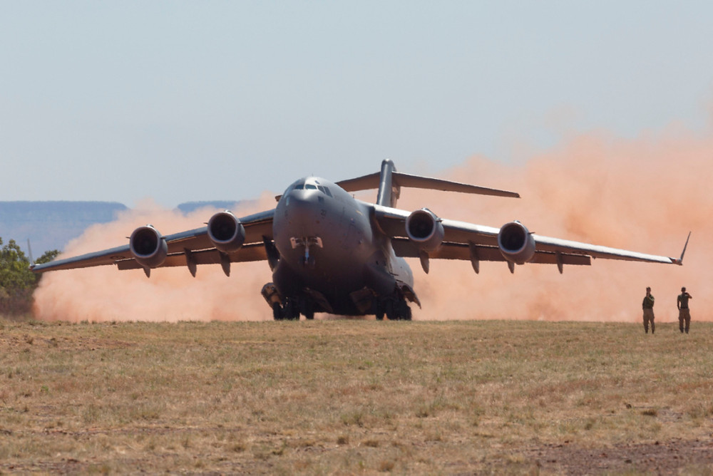 C-17A Globemaster takes off from Nackeroo Airfield in the Northern Territory during Exercise Pitch Black 2016. [Image Credit: Commonwealth of Australia]