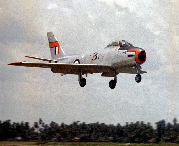 A 3 Squadron Sabre at RAAF Butterworth circa 1959 [Image Credit: Peter Scully via 3 Squadron Association]