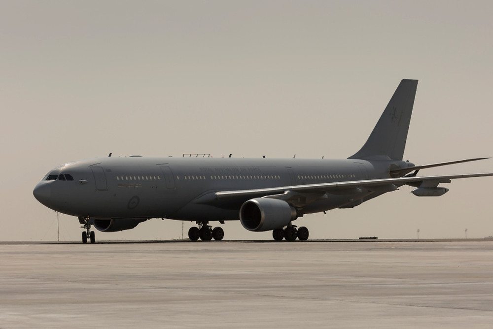 A Royal Australian Air Force KC-30A Multi Role Tanker Transport returns from a mission over Iraq. Image Credit: Commonwealth of Australia]
