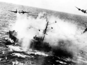 RAAF Beaufighters straffing the enemy convoy. Credit: RAAF