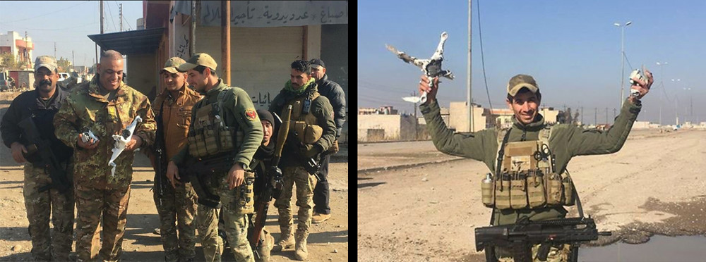 Surveillance quadcopters reportedly captured by Iraqi forces in Mosul in Januaury 2017 [Image credit: Defense One]
