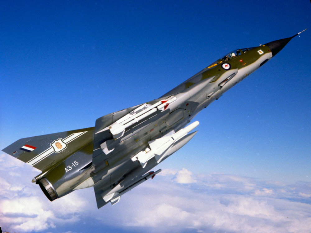 A 77SQN Mirage banking away, with a Matra missile underneath. [Image Credit: RAAF]