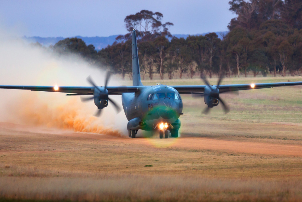 A Royal Australian Air Force C-27J Spartan from No 35 Squadron takes off from Walcha Airport during a training mission in September 2017. [Image Credit: Department of Defence]