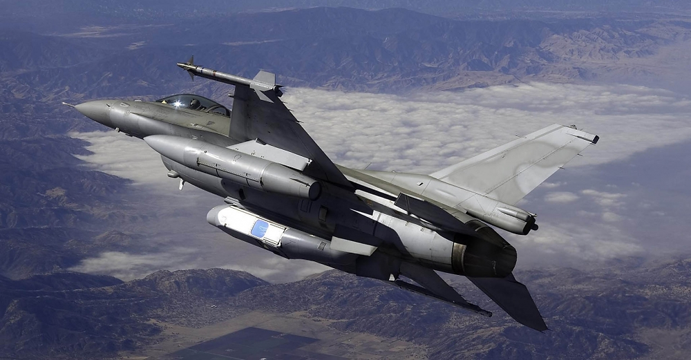 The DB-110 sensor pod carried on an F-16 Fighting Falcon. [Image Credit: SYPAQ]