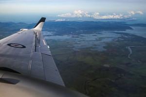 A RAAF KA350 King Air flies past flood affected Proserpine after Cyclone Debbie struck the region [Image credit: RAAF]